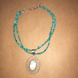 Silver and Blue Bead Necklace with Stone Pendant